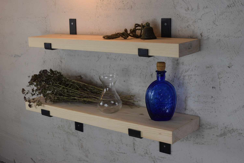 Shelf Complete DIY Kit Modern Rustic Industrial Metal Shelf Brackets Handmade