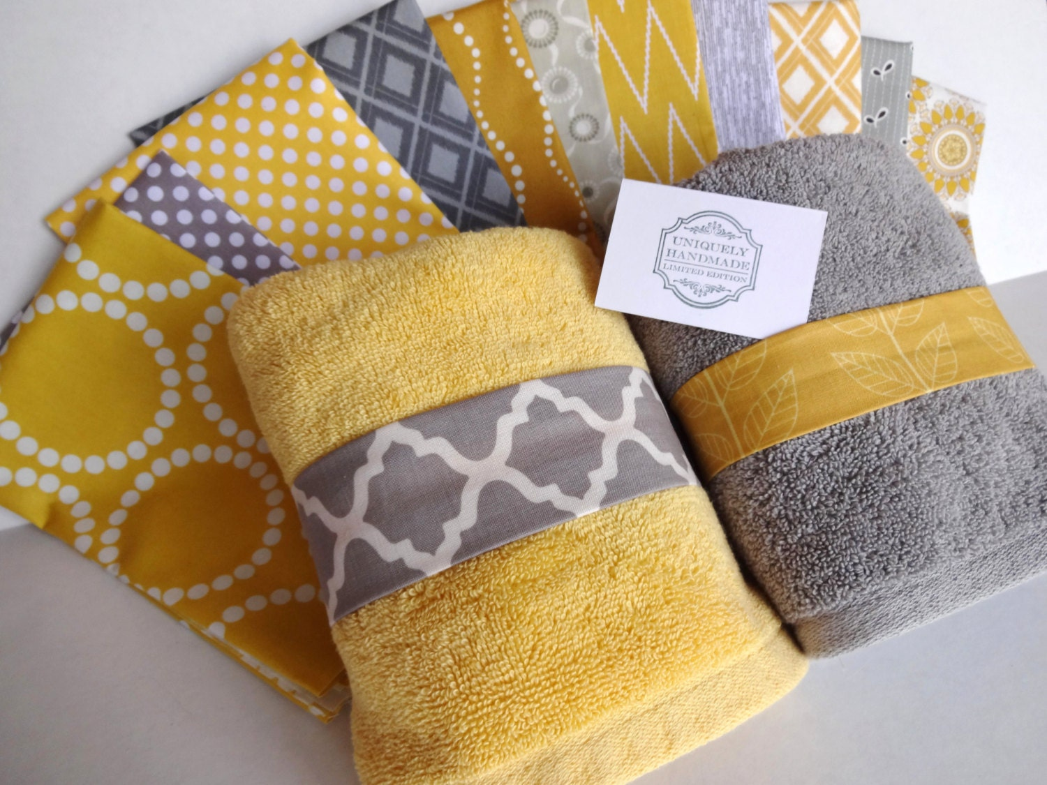you pick custom yellow and gray towels custom grey by augustave. Black Bedroom Furniture Sets. Home Design Ideas