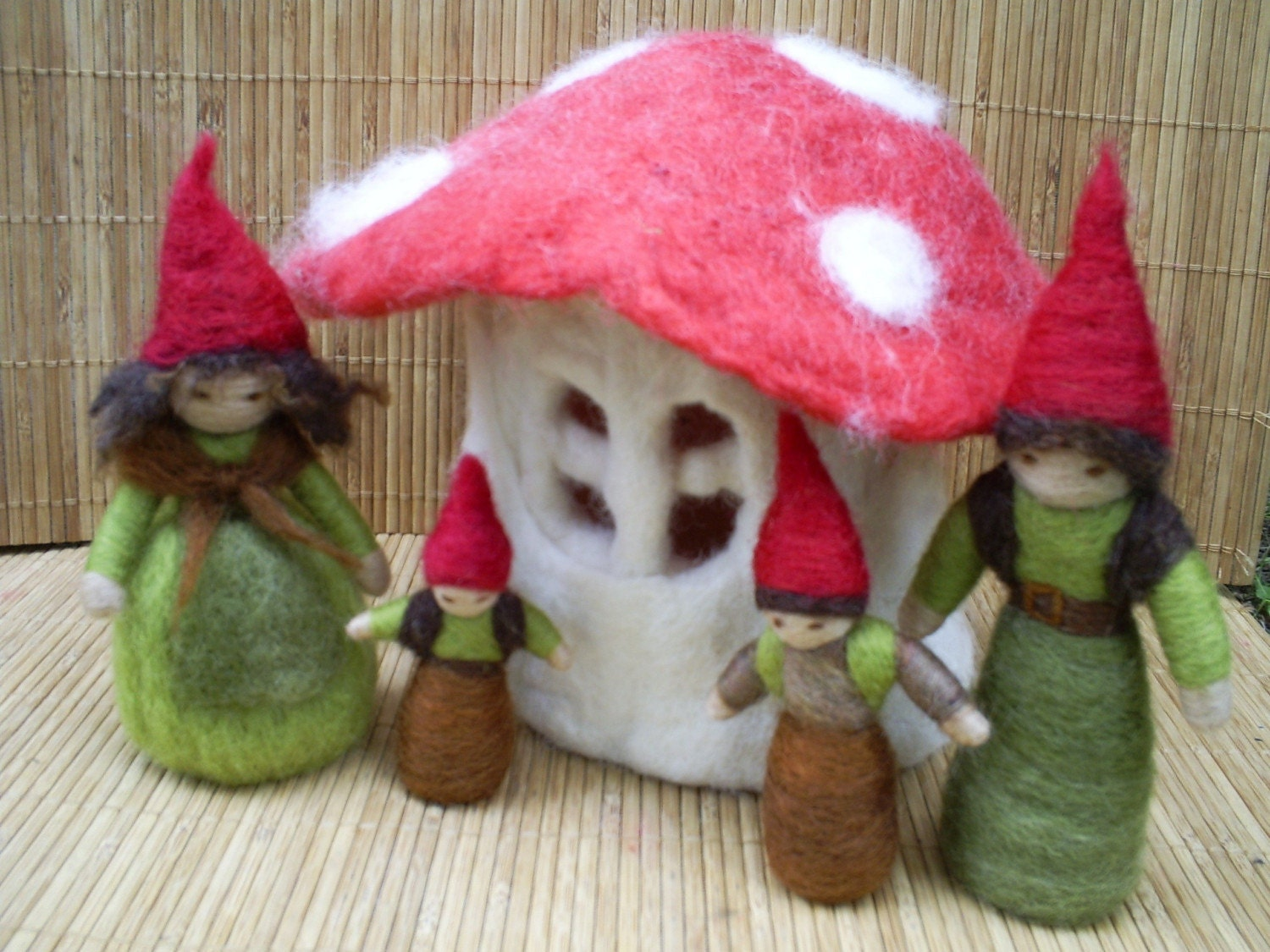 Family of Gnomes - Waldorf Style - Needle felted with New Zealand wool - Made to order in the colours of your choice