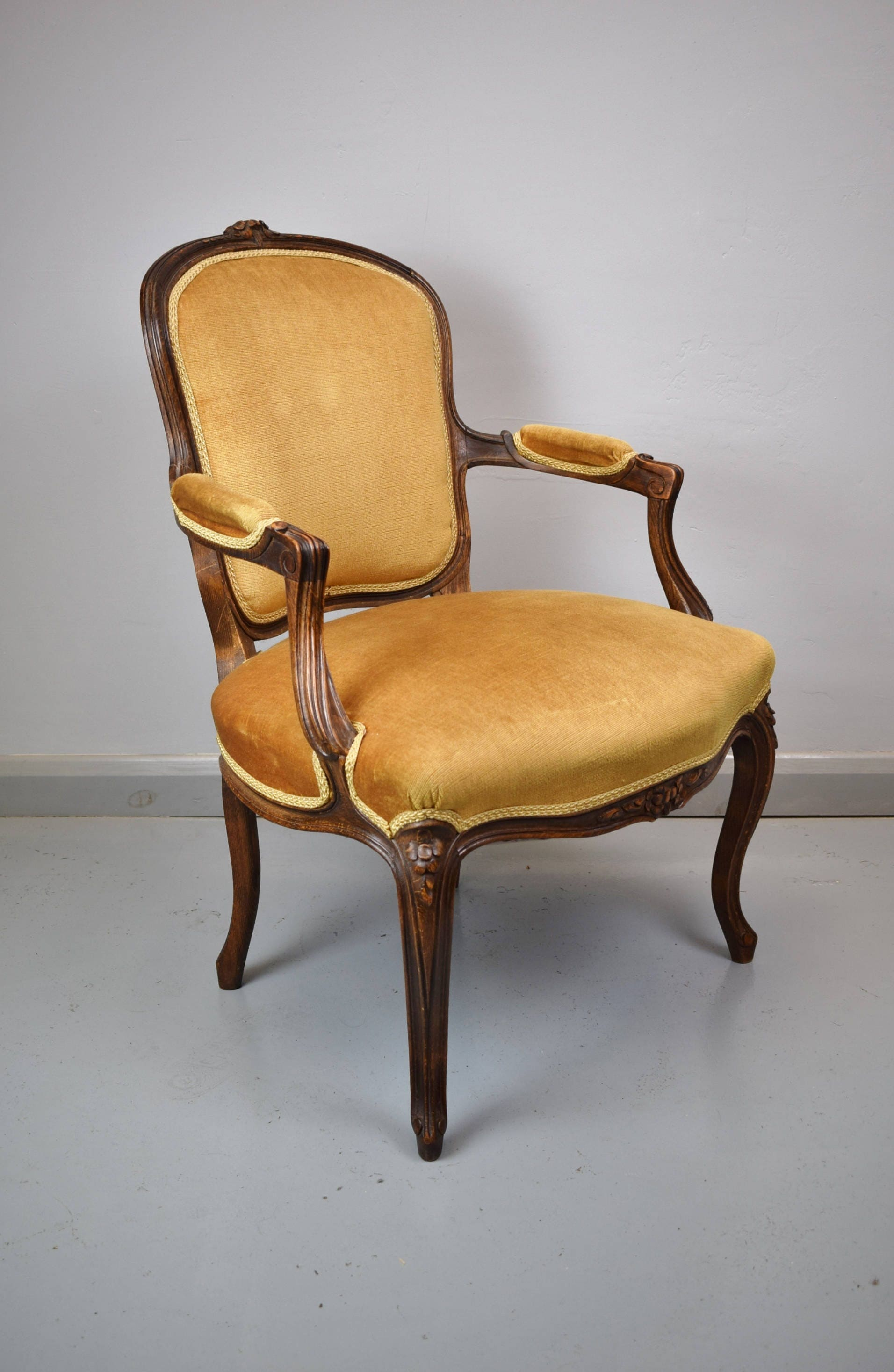 Antique Style French Walnut Lounge  Drawing Room Armchair Gold Draylon
