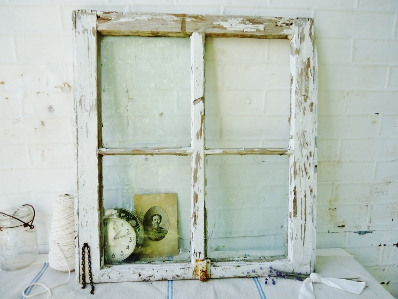 Antique Farmhouse Window with Latch - 4 Pane - Chippy White Beauty