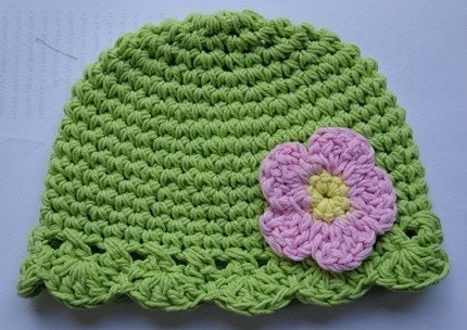 6-12 month Flower flapper Beanie - green, pink, yellow