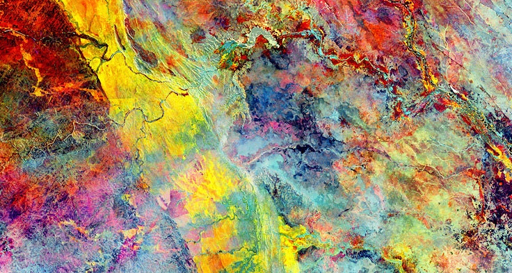 "Lebombo Mountains: 31 x 16.5 in. signed print of ""Gold Rush"" by satellite image artist Stuart Black. Mozambique, South Africa, Kruger - StuartsEarth"