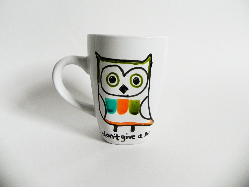 colorful owl - I don't give a hoot. - mug // hand-drawn/written - Espressions