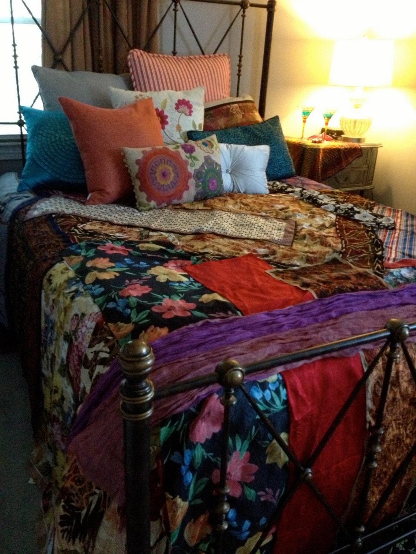 Gypsy Boho Bedspread, Bedding, Blanket- Bohemian, Anthropologie Quilt ...