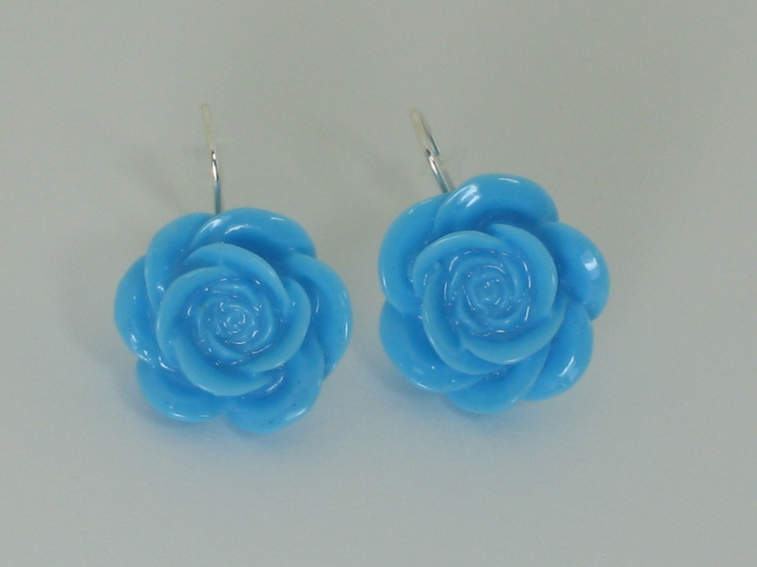 Vintage Inspired Lucite Roses on Fishhook Earrings