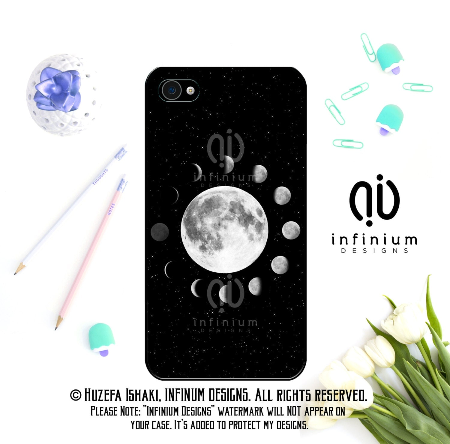 Lunar Moon Phases Case For iPhone 6S iPhone SE iPhone 5 iPod Touch 6 iPhone 6 Plus iPhone 6 iPhone 5S  iPhone 5C