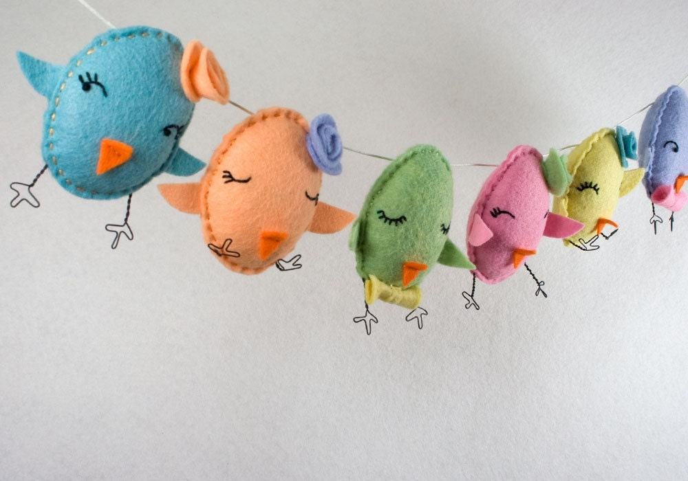 Easter chick hand-embroidered garland bunting