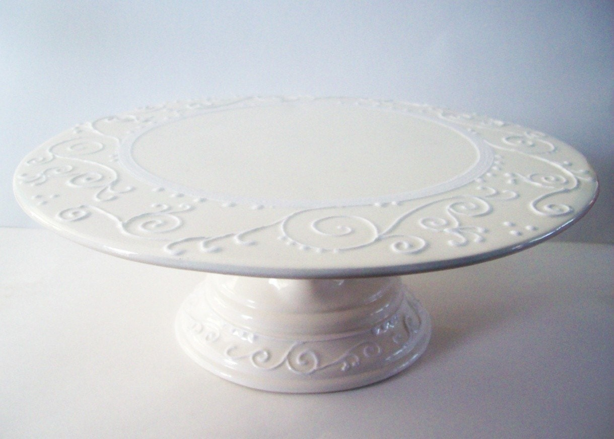 Wedding Cake Stand Elegant White On White By Theheadscreation