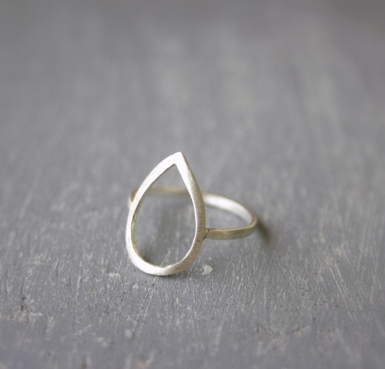 Silver Open Teardrop Ring Teardrop Ring Silver Drop Ring