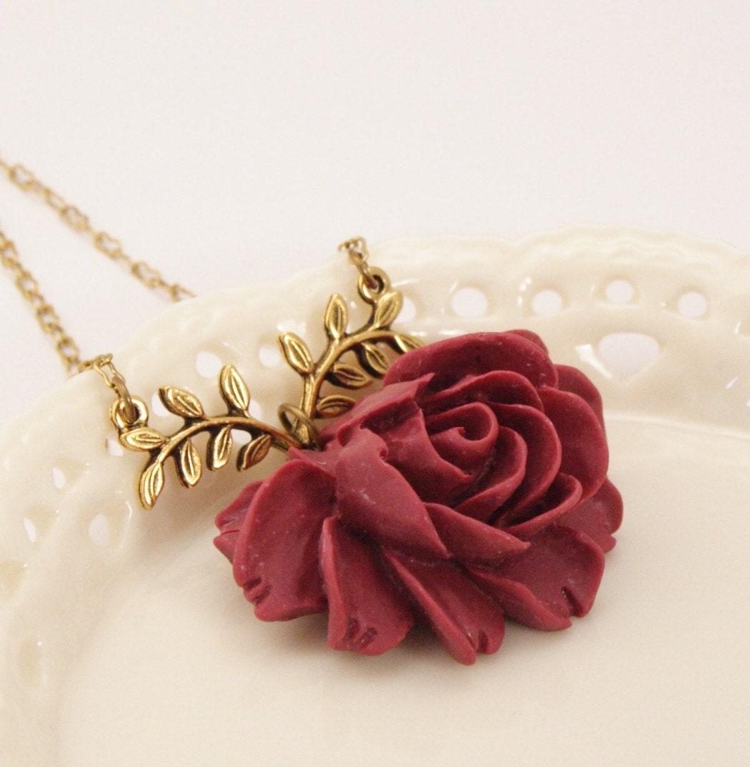 Madelaine Maroon Rose Necklace