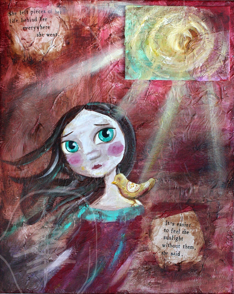 Mixed Media - Big Eye Art - Sunshine - Quote Painting - Large - Original Painting - Girl with bird