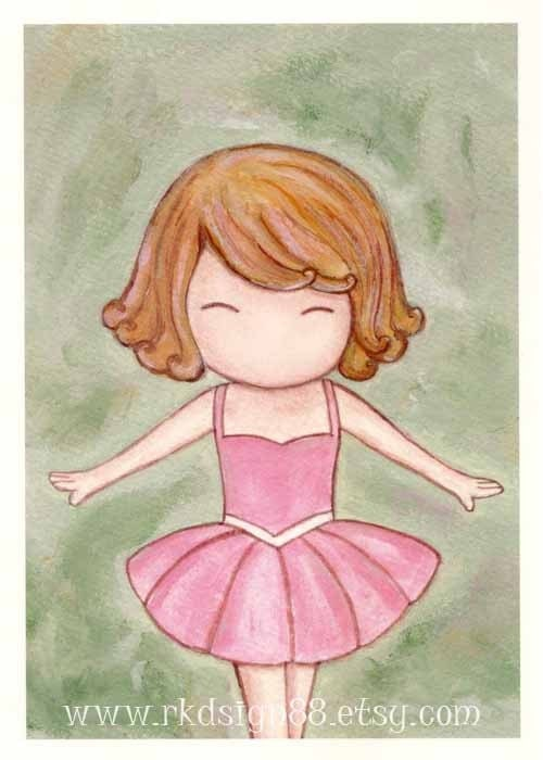 rkdsign88.blogspot.com etsy ballet tutu  pdf fun illustration nursery drawing art print cute whimsical reproduction