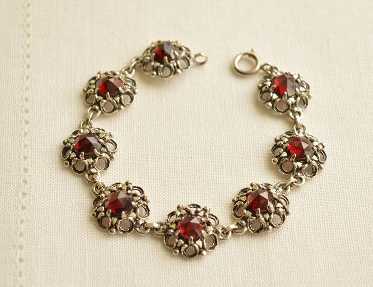 Antique GARNET Silver 835 Bracelet Garnet Bracelet Silver Bracelet Garnet Jewelry