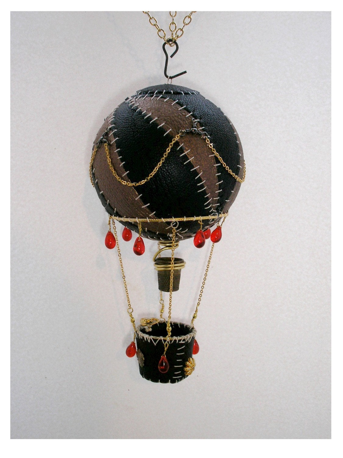 Altered art leather mobile mini air balloon Sunrise by pushok1983