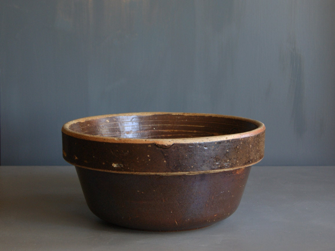 Rustic Stoneware Bowl in Brown Salt Glaze Finish - susantique