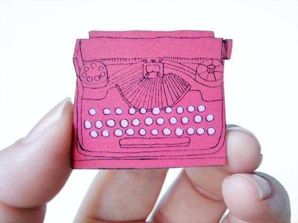 Typewriter Wood Brooch