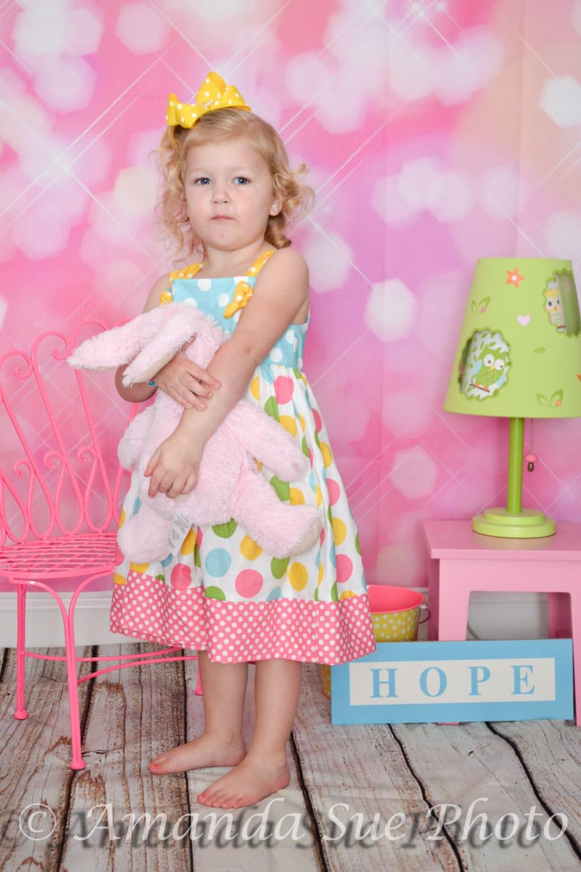 Pastel Easter dress rainbow dot girls dress - SoSoHippo