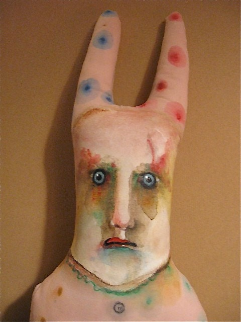 art doll rabbit pillow guy , handmade , hand painted original one of a kind Halloween