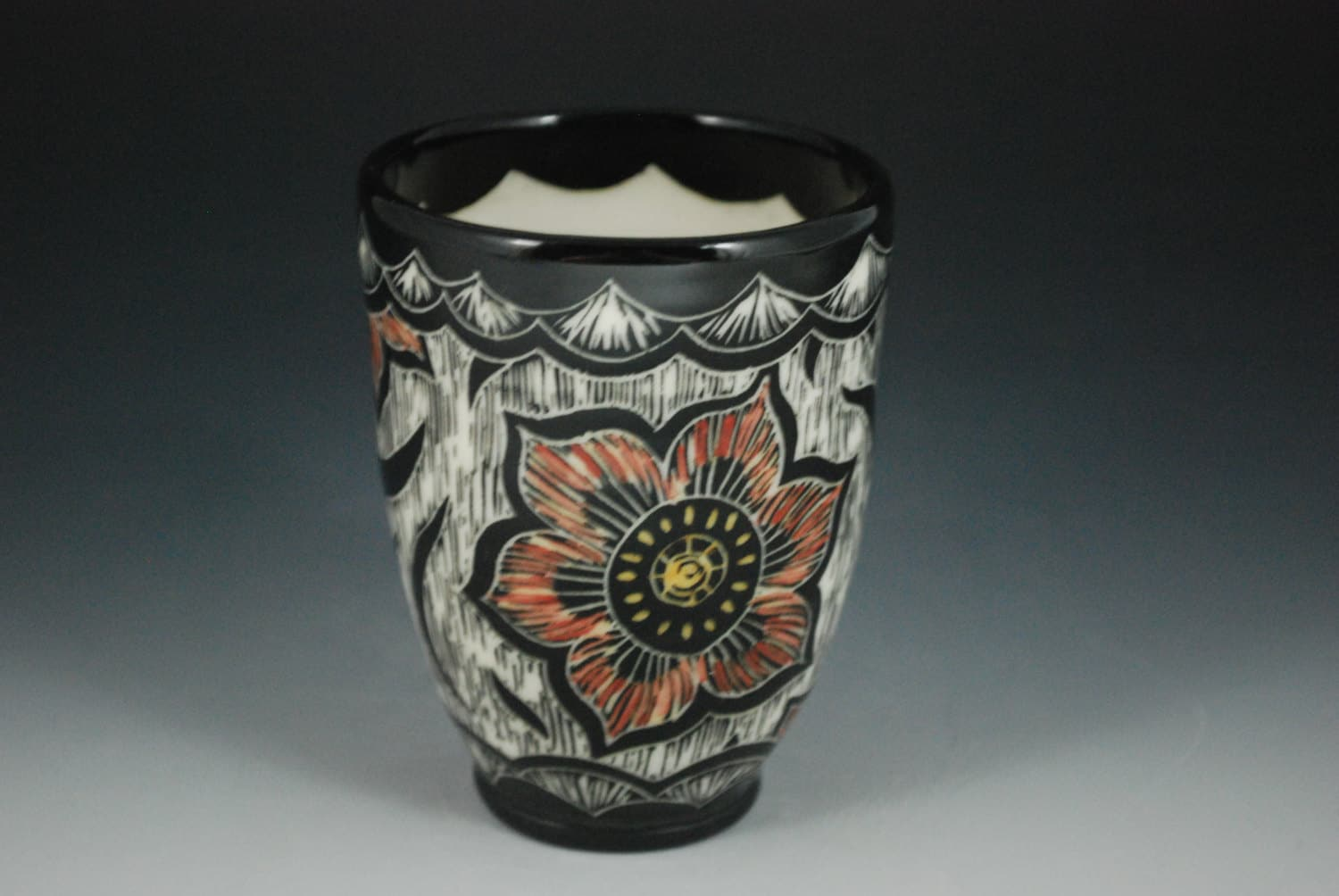 Sgraffito Indian Flower Design Tumbler with Color (Porcelain) - RebeccaAGrantCeramic