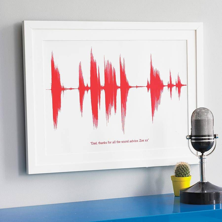 Personalised Your Voice Sound Wave Print A4. For Dad on Father's Day. For Men - OwlishGrey