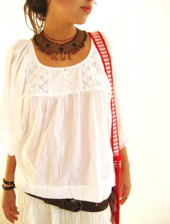 Blouson Tunic embroidered Spanish FLARE 1960 Bohemian Chic Style BLANCO