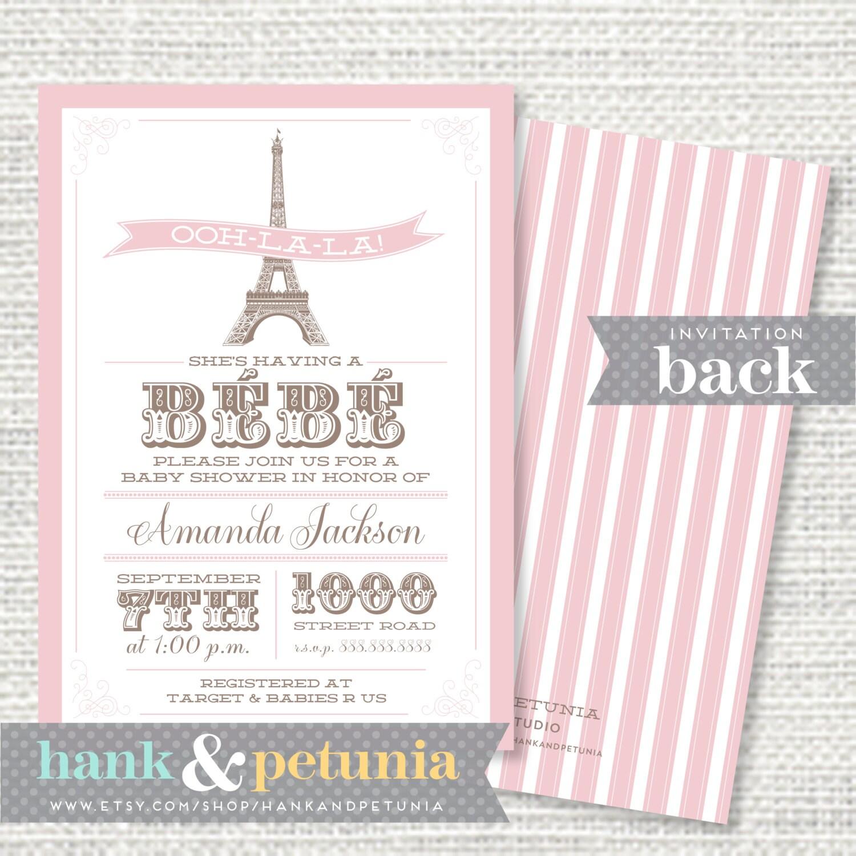 paris or eiffel tower baby shower invitation by hankandpetunia
