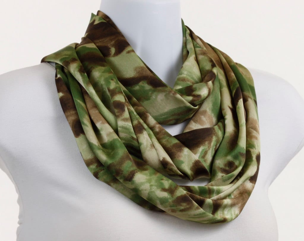 Infinity Scarf - Camouflage Design in Shades of Green, Brown and Tan Silky - neckStyles