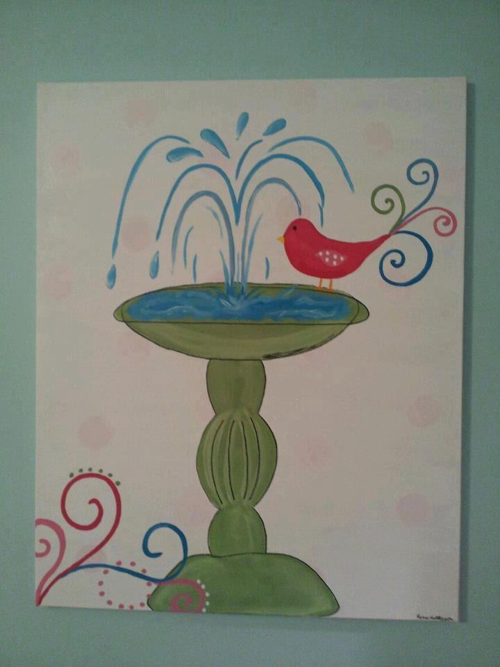 Whimsical Bathroom Wall Decor : Items similar to whimsical tweet bird bath fountain girls
