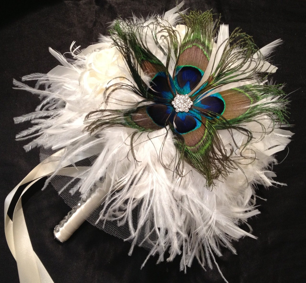 White wedding bouquets with peacock feathers : Vintage style ivory peacock feather and by