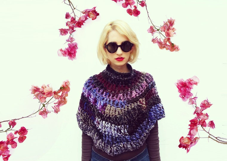 Turtleneck Poncho Crochet Neckwarmer Wool Shrug Womens Winter Accessories - ALUMAhandmade