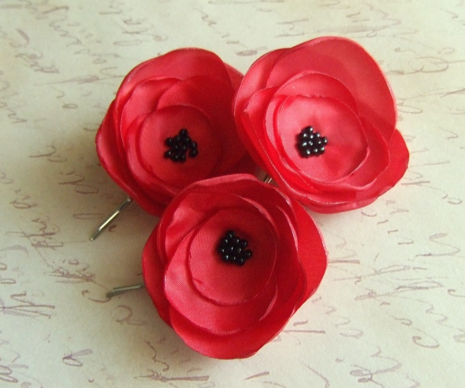 Three  Red Flower Bobby Pins