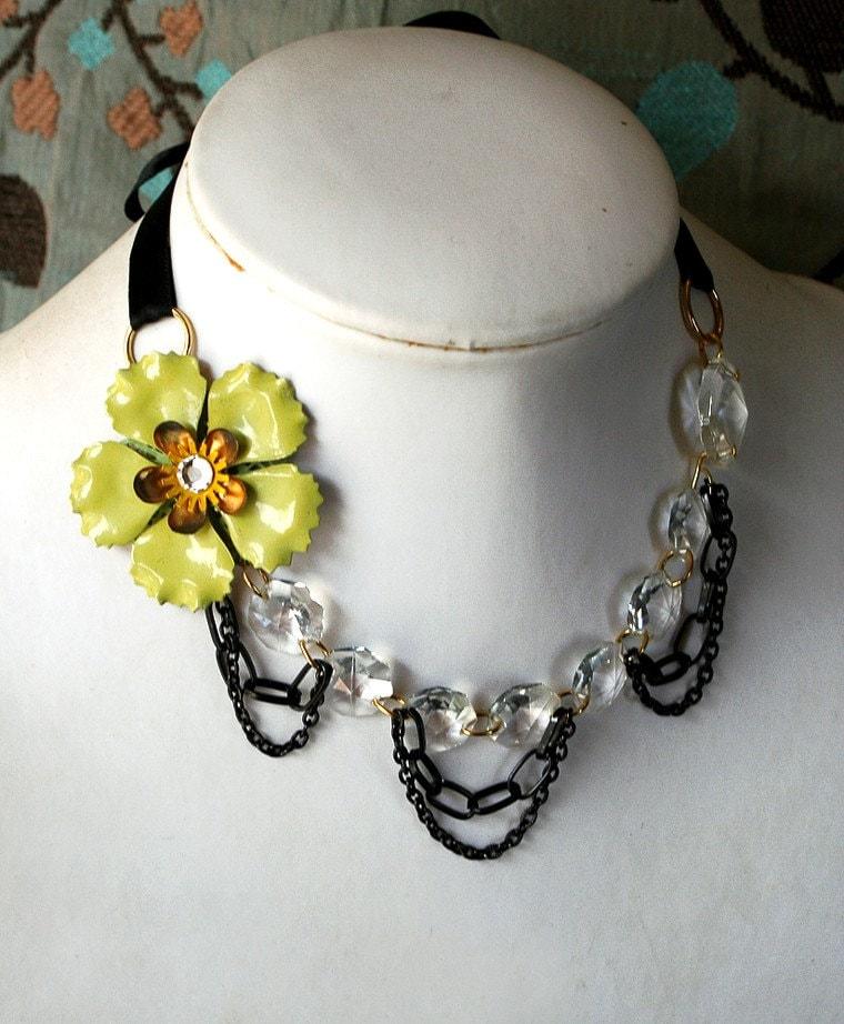 Spiderwebs and Absinthe Statement Necklace - Vintage Chandelier Crystal Enamel Flower Draped Chain Steampunk