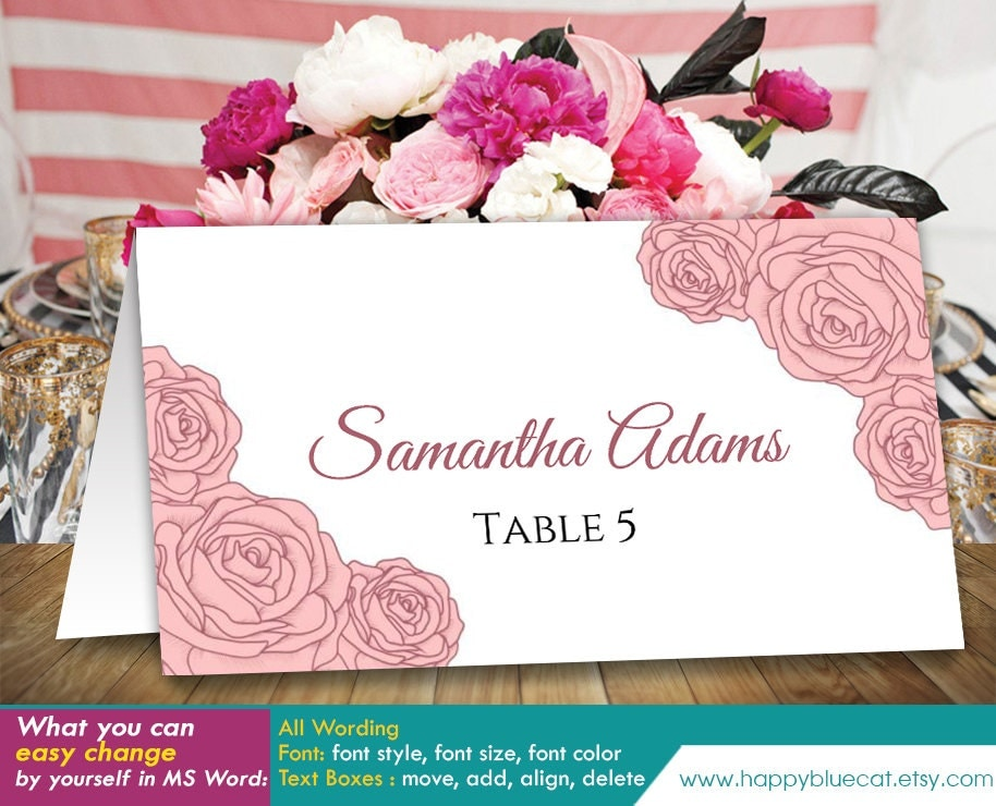 Place card template microsoft word diy printable wedding place card template instant by happybluecat solutioingenieria Images