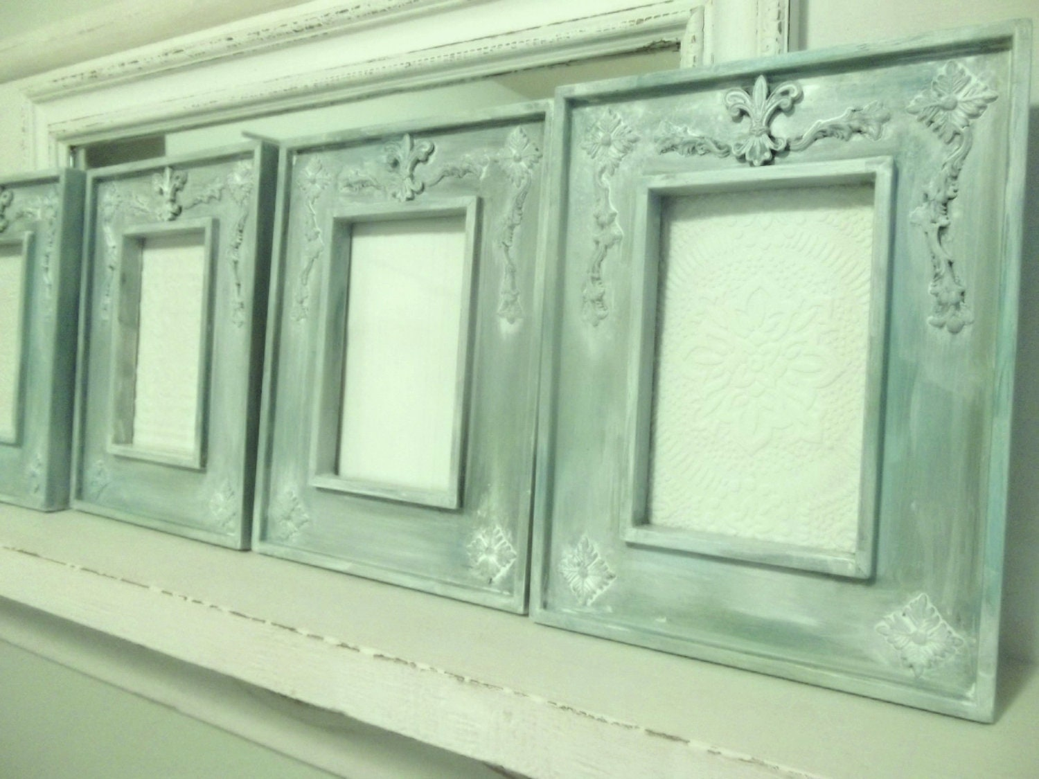 Set of 4 Frames, aqua, teal, blue green, white washed home decor. Tawnystreasures - tawnystreasures