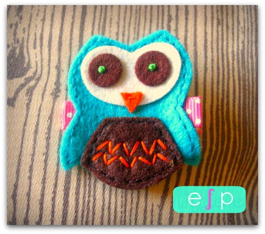 Owl Felt Hair Clip- Baby Hair Clip- Baby Girl Hair Clip with Gripper Toddler Hair Clip Turquoise