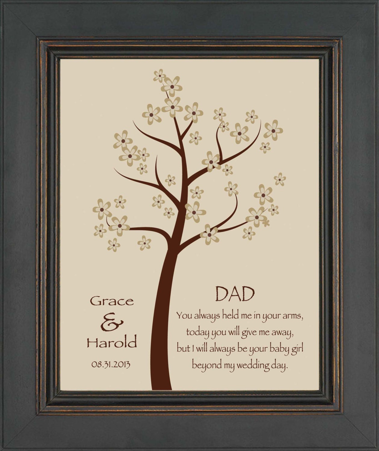 Unique Wedding Gift For Daughter : ... gift for DAD on Wedding Day from Daughter - Personalized Print- Can be