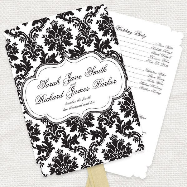 simply elegant wedding ceremony program fan printable file to match our