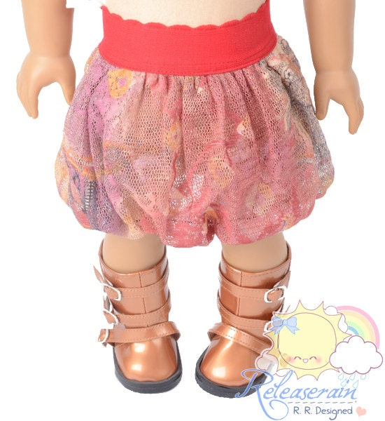 "Red Elastic Banded Waist Coral Boho Paisley Mesh Tulle Bubble Skirt Doll Clothes Outfit for 18"" American Girl dolls"