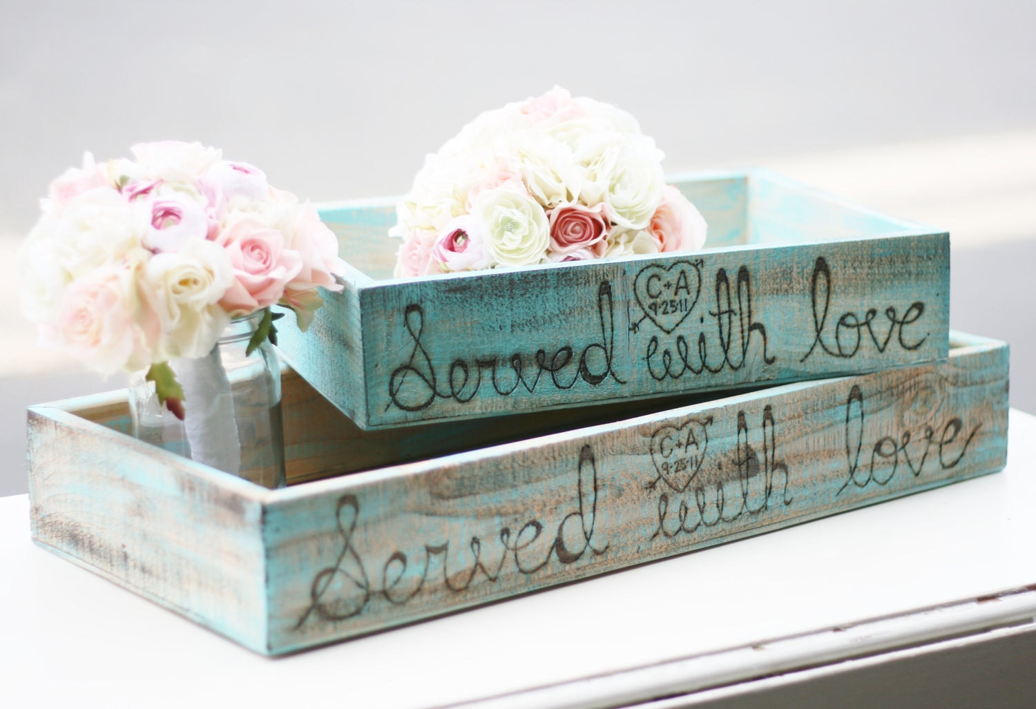 2 you pick the color Distressed Barn Wood Served With Love Dessert Buffet Appetizer Favor Candy Boxes Trays Rustic Chic Farm Shabby Country