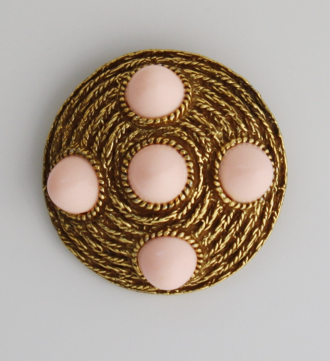 Vintage Gold & Pink Brooch from by tootsystreasures on Etsy from etsy.com