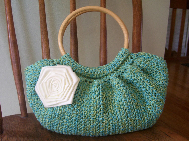 Crochet Fat Bottom Bag Purse Turquoise Blue by kathyscrochetcloset