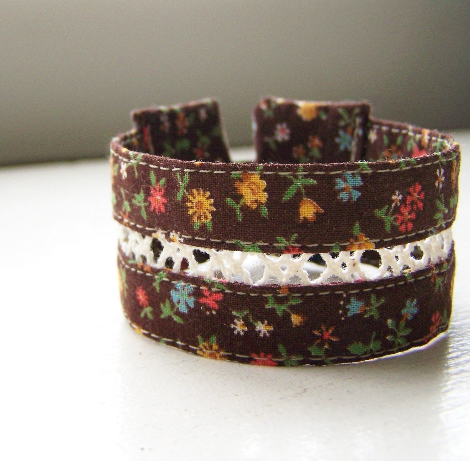 Double strand cuff bracelet in vintage calico and crocheted lace READY TO SHIP
