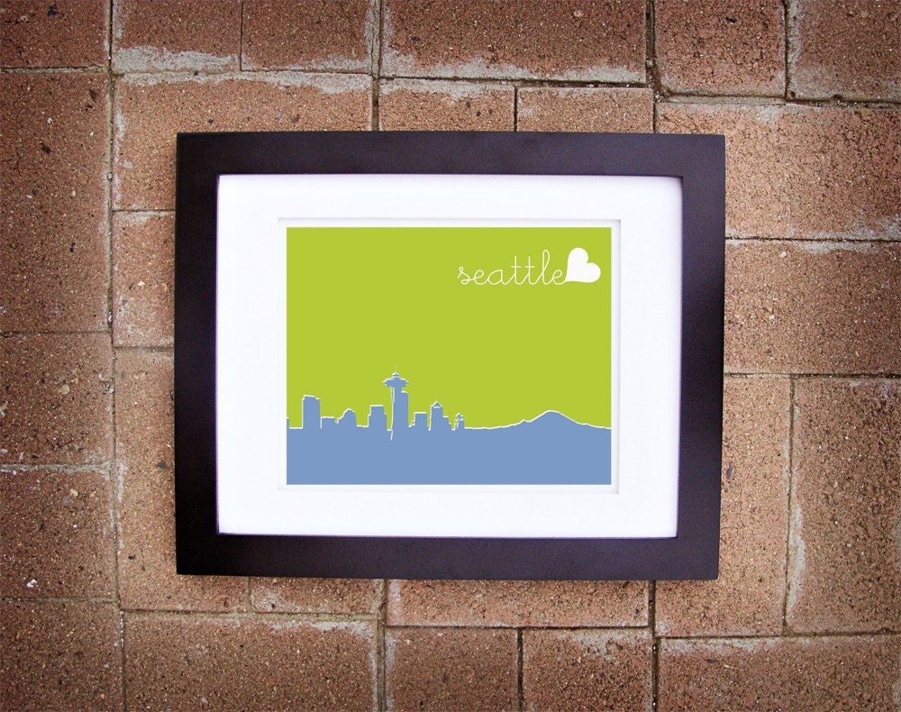 Modern Seattle Skyline Print - Printable 8x10
