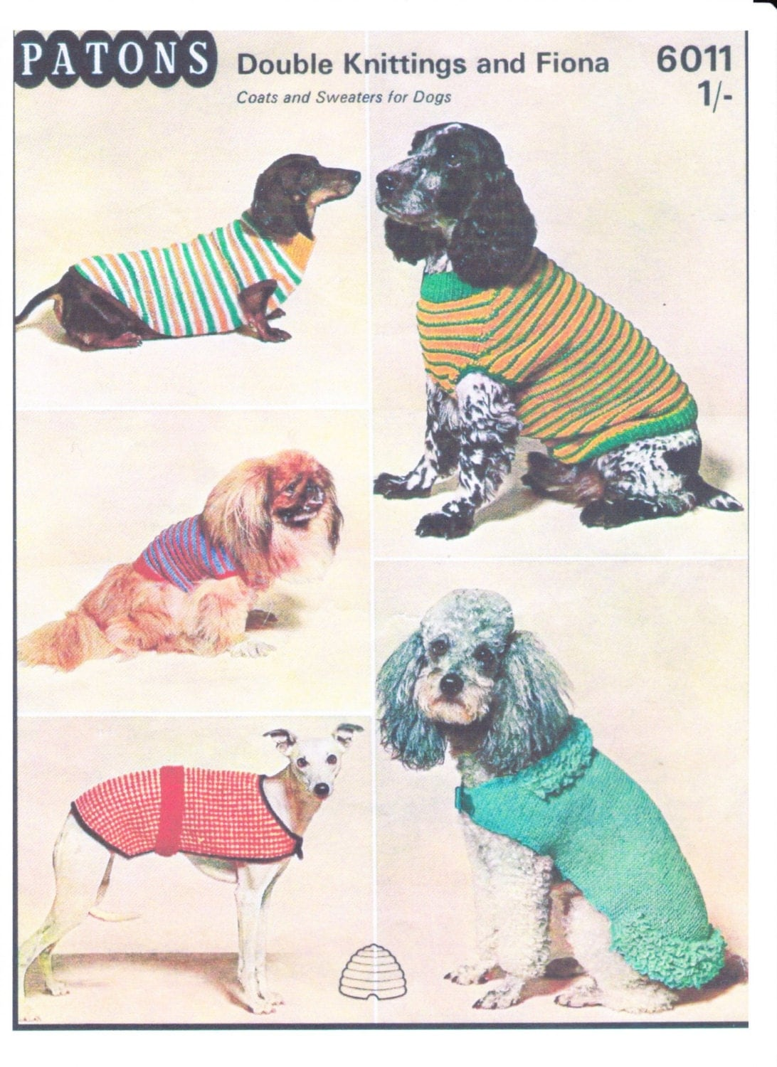 VINTAGE Dog Coats and Sweaters Knitting Pattern pdf in Double Knitting INSTANT DOWNLOAD