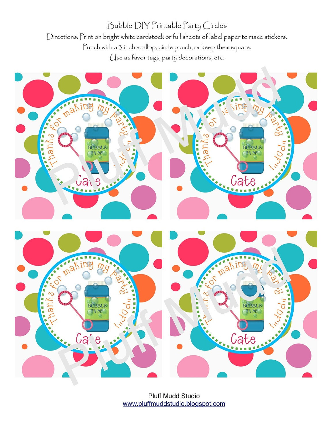 Items similar to Bubble DIY Printable Favor Tag on Etsy