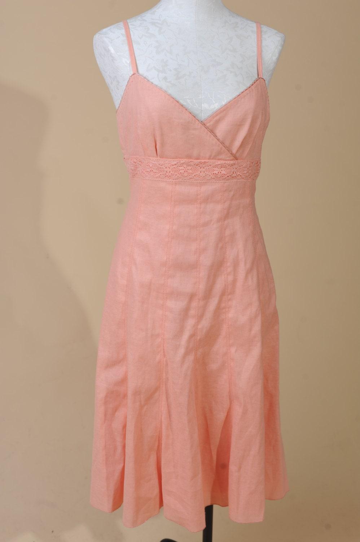 Womens Peach Linen Summer Dress Perfect By LoveOfAllVintage