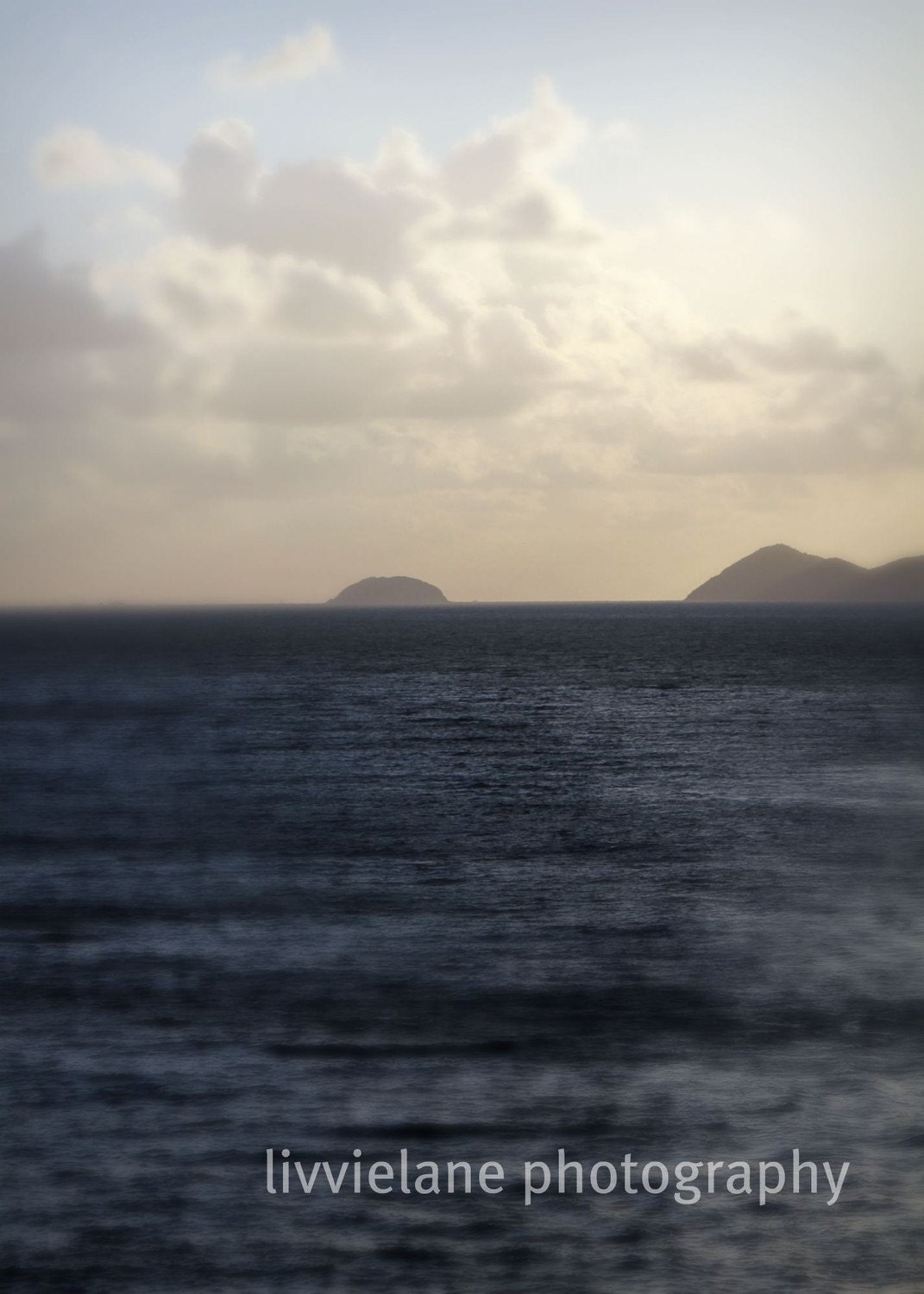 Ocean photography - Far and Away - 8 x 10 - fine art color photograph - dark shimmering blues and pastels - livvielane