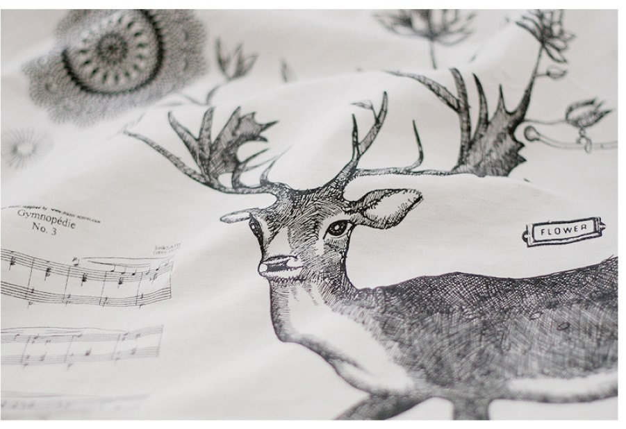 Zakka Retro White Black Woodlands Animal Deer Music Flowers Typo Words Birdcage Cotton Linen Fabric Cloth Panel 58 x 31 Inches