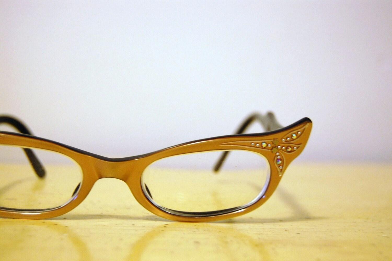 1960s FRAME FRANCE Cat Eye Glasses w/ Case